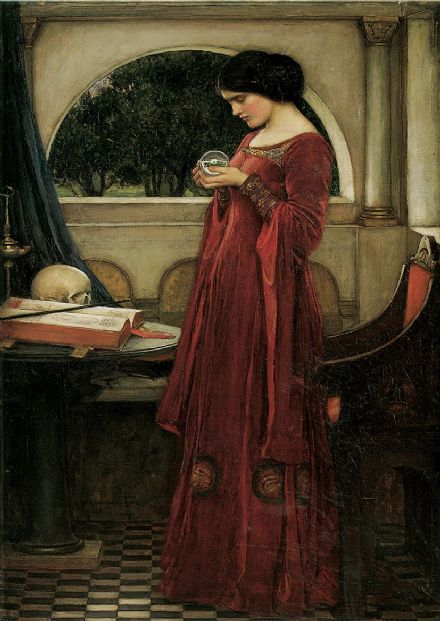 Waterhouse, John William: The Crystal Ball. Mystical Fine Art Print/Poster. Sizes: A4/A3/A2/A1 (00847)